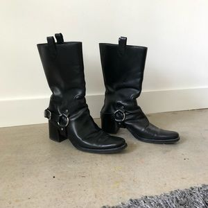 Miu Miu Black Leather Moto Boots